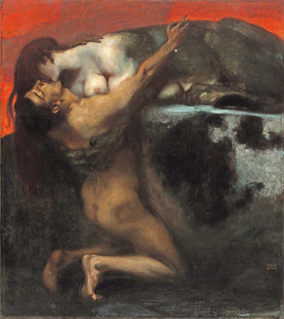 Franz von Stuck-The Kiss of the Sphinx-1905 by freudian myth
